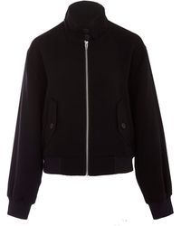 McQ by Alexander McQueen Black Crepe Bomber Jacket - Lyst
