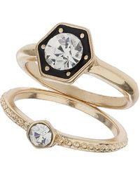 Topshop Hexagon Front Rhinestone Ring  Clear - Lyst
