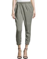 Fade To Blue Faux-Wrap Zip-Cuff Pants - Lyst