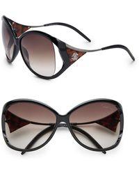 Roberto Cavalli Oversized Black Plastic Sunglasses - Lyst