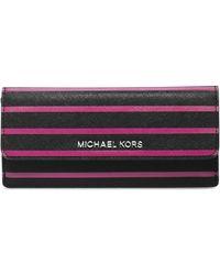 Michael by Michael Kors Jet Set Travel Striped Flap Wallet - Lyst