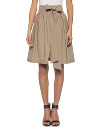 MSGM Cotton Wrap Skirt - Brown - Lyst
