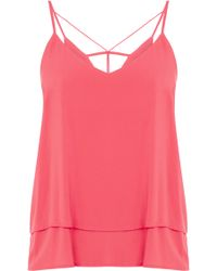 Oasis Double Layer Cami pink - Lyst
