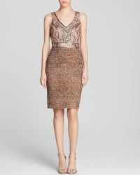 Sue Wong Dress - Sleeveless Double V Beaded Bodice  Textured Metallic Skirt - Lyst