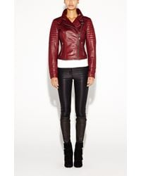 Nicole Miller Quilted Moto Leather Jacket - Lyst