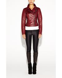Nicole Miller Quilted Moto Leather Jacket - Red