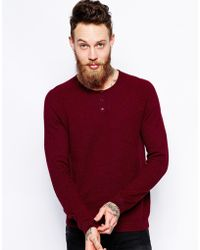 Asos Sweater With Button Neck In Cotton - Lyst