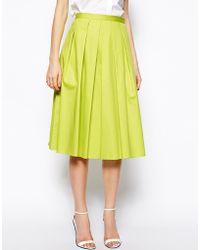 Asos Full Midi Skirt In Cotton - Lyst