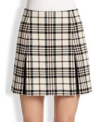 Carven Plaid Wool Mini Skirt - Lyst