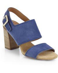 Chloé Suede Slingback Sandals - Blue