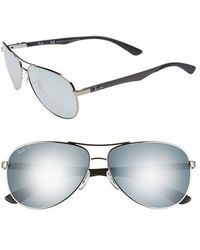 Ray-Ban Women'S 'Tech' Polarized 61Mm Aviator Sunglasses - Shiny Gunmetal/ Silver Polar - Lyst