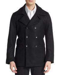 Armani Virgin Wool Double-Breasted Coat - Lyst