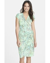 Maggy London Print Jersey Wrap Dress - Lyst