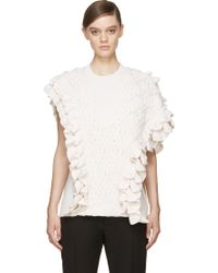 3.1 Phillip Lim Ivory Crocheted Asymmetrical Top - Lyst