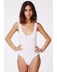 Missguided Kimberley Plunge Bodysuit White - Lyst