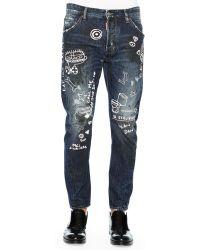 DSquared2 Graffiti-Print Denim Jeans - Lyst