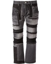 Junya Watanabe Patchwork Design Cropped Jeans - Lyst
