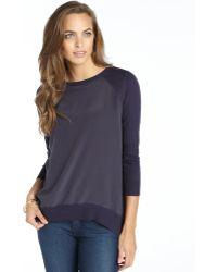 Acrobat Navy Cotton And Cashmere Blend Knit Silk Front Raglan Sweater - Lyst