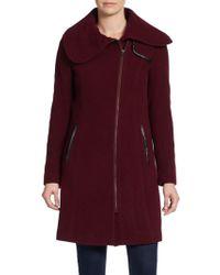Saks Fifth Avenue Black Label Wool-Blend Contrast-Trim Coat - Lyst