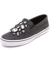 Kate Spade Slater Flannel Slip On Sneakers Grey - Lyst