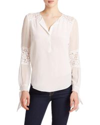 Rebecca Taylor Silk Lace-Panel Top white - Lyst