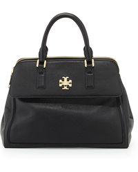 Tory Burch Mercer Leather Dome Satchel Bag Black - Lyst