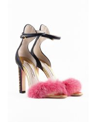 Sophia Webster Nicole Leather Sandals with Fur Trim - Lyst