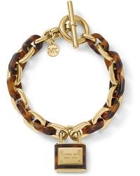 Michael Kors Gold Tone And Tortoise Link Bracelet With Pendant - Lyst