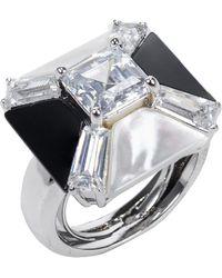 Kenneth Jay Lane Agate Cz Geometric Ring - Lyst