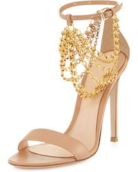 Gianvito Rossi Leather Ankle Chain Sandal - Lyst