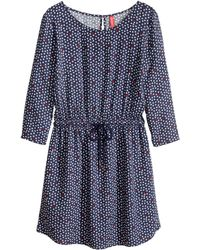 H&M Blue Patterned Dress - Lyst