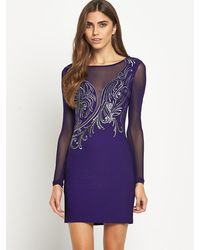 Lipsy Embroidered Long Sleeve Bodycon Dress - Lyst