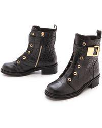 Giuseppe Zanotti Croc Stamped Combat Boots - Black - Lyst