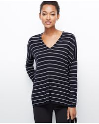 Ann Taylor Striped V-neck Tunic Sweater - Lyst