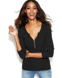 Inc International Concepts Ribbed Zipper Sweater - Lyst