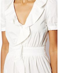 Love Moschino Cotton Dress with Ruffle Front Wrap Detail and Short Sleeves - Lyst
