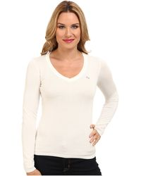 Lacoste Long Sleeve Cotton Double Overlay V-Neck Sweater - Lyst