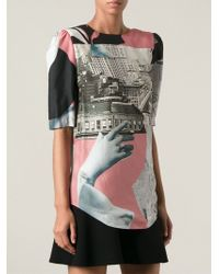 Carven Printed Rear Button Fastening Short Sleeved Blouse - Lyst