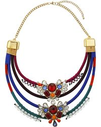 Topshop Coloured Fabric and Stone Collar - Lyst