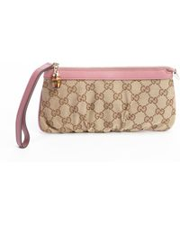 Gucci Pink and Beige Leather and Gg Canvas Wristlet - Lyst