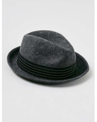 LAC Charcoal Wool Trilby Hat - Gray