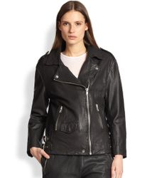 Oak Perforated Leather Biker Jacket - Lyst