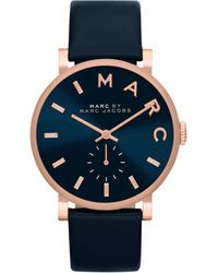 Marc By Marc Jacobs Baker Analog Watch with Leather Strap Rose Goldennavy - Lyst