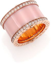Michael Kors Rose & Blush PavÉ Barrel Ring pink - Lyst