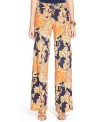 Ralph Lauren Lauren Paisley Print Wide Leg Pants - Lyst