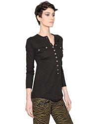 Balmain Cotton Cashmere Blend Henley Tshirt - Lyst