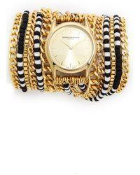 Sara Designs Chain  Bead Wrap Watch  Blackwhite - Lyst