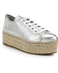 Miu Miu Metallic Leather Espadrille Platform Sneakers - Lyst