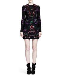 Alexander McQueen Long Sleeve Feather-print Shift Dress - Lyst