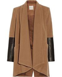 Mason by Michelle Mason Leather-Paneled Wool-Blend Coat - Lyst